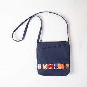 """Aizome Hagi"" Front Pocket Shoulder Bag"